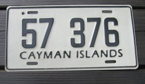 Cayman Islands Black White License Plate 1990s