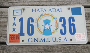 Northern Mariana Islands Taxi License Plate USA Territory CNMI 2009