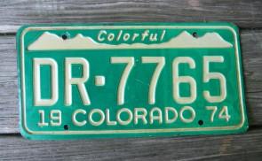 Colorado Colorful Colorado License Plate 1974