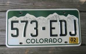 Colorado Mountain Scene License Plate 2002