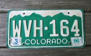 Colorado Mountain Scene License Plate 1996