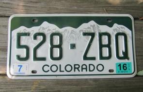 Colorado Mountain Scene License Plate 2016