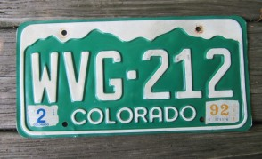 Colorado Mountain Scene License Plate 1992