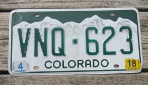 Colorado Mountain Scene License Plate 2018
