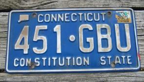 Connecticut Blue White License Plate 2002