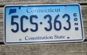 Connecticut Blue White License Plate 1980