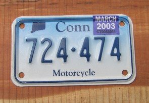 Connecticut Motorcycle License Plate Blue Fade 2003
