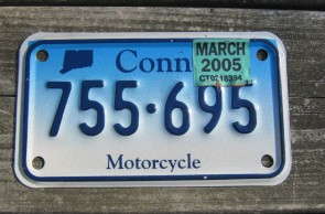 Connecticut Motorcycle License Plate Blue Fade 2005