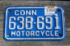 Connecticut Motorcycle License Plate White Blue 1996