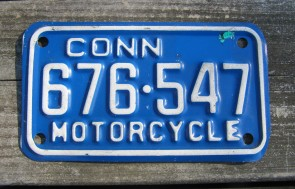 Connecticut Motorcycle License Plate White Blue 1990's
