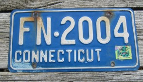 Connecticut Blue White License Plate 1999