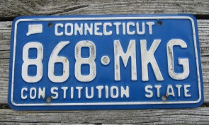 Connecticut Blue White License Plate 2000's