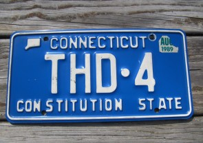 Connecticut Blue White Vanity THD 4 License Plate 1989