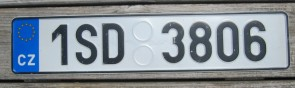 Czech Republic Euroband License Plate 1SD3806