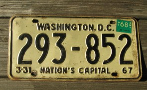 District of Columbia License Plate Washington DC Nation's Capital 1968