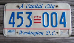 District of Columbia License Plate Washington DC A Capital City 1990's