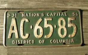 District of Columbia License Plate Washington DC Nation's Capital 1956