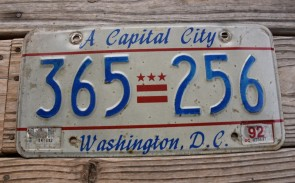 Washington DC License Plate District of Columbia 1992