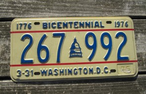 District of Columbia License Plate Washington DC Nation's Capital 1976 Bicentennial