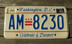 District of Columbia License Plate Washington DC Celebrate And Discover 2001