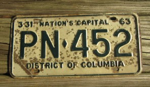 District of Columbia License Plate Washington DC Nation's Capital 1963