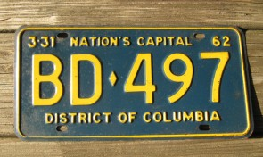 District of Columbia License Plate Washington DC Nation's Capital 1962