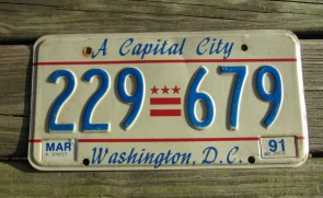 District of Columbia License Plate Washington DC A Capital City 1991