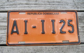 Dominican Republic Orange Black License Plate