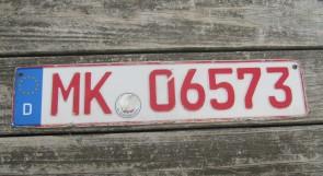 Germany Dealer License Plate City of Märkischer Kreis, North-Rhine-Westphalia MK 06573