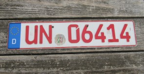 Germany Dealer License Plate City of  Unna, North-Rhine-Westphalia UN 06414