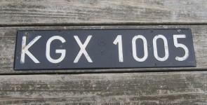 Poland Black White License Plate KGX 1005