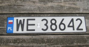 Poland Flag License Plate WE 38642
