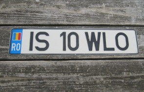 Romania Flag License Plate IS 10 WLO