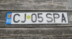 Romania Flag License Plate CJ 05 SPA