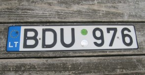 Lithuania Euro Band License Plate BDU 976