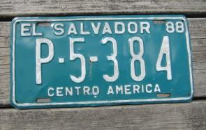 El Salvador green White License Plate 1988