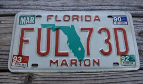 Florida Green Map License Plate 1993