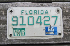 Florida Green Letters Motorcycle License Plate 1986