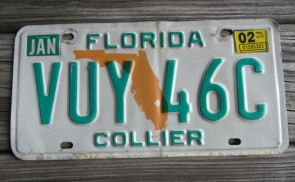 Florida Orange Map License Plate 2002