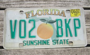 Florida Big Orange License Plate Sunshine State 2007