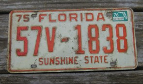 Florida Red White License Plate Sunshine State 1976
