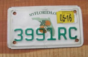 Florida Motorcycle License Plate Double Orange 2016