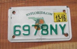 Florida Motorcycle License Plate Double Orange 2016