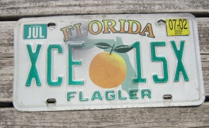 Florida Big Orange License Plate Sunshine State 2002