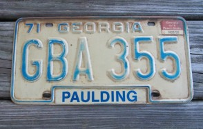 Georgia Blue White License Plate 1975