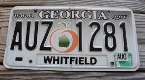 Georgia Grey Fade Peach License Plate 2009
