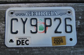 Georgia Motorcycle License Plate Grey Fade Peach 2006