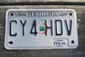 Georgia Motorcycle License Plate Grey Fade Peach 2008