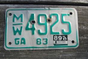 Georgia Motorcycle License Plate Green White 1989