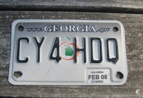 Georgia Motorcycle License Plate Grey Fade Peach 2008